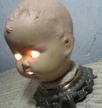 DIY doll head lamp | Creepy baby dolls, Creepy dolls, Doll head