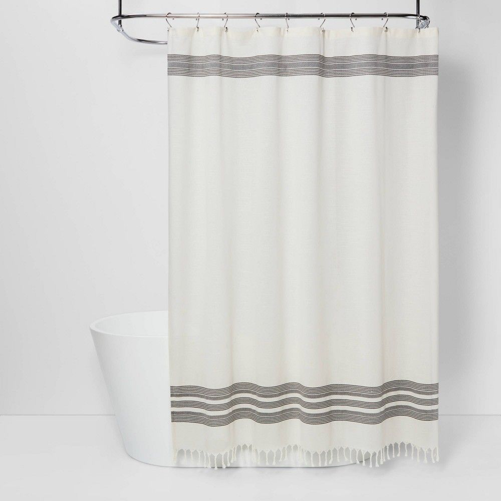 Stripe Fringe Shower Curtain White Gray Threshold In 2020