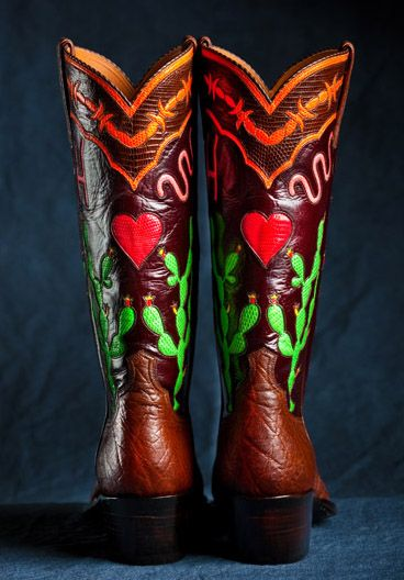 a9695329b9e Maida's Custom Boots #retro #womens #footwear #heart #red #green ...
