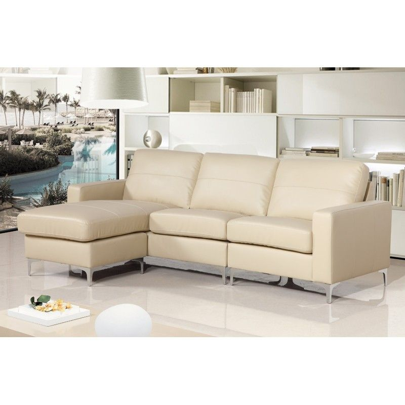 Sutton Ivory Cream Leather Reversible Corner Sofa Group With
