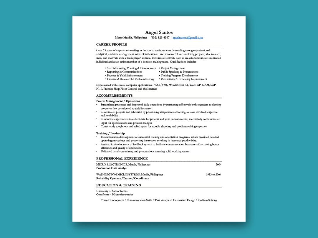 Functional Resume Inforati Philippines Functional