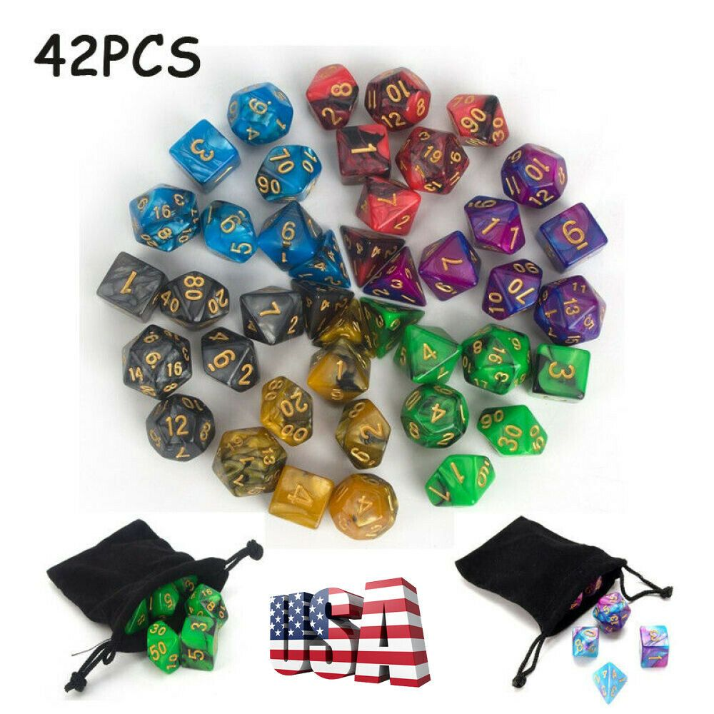 42PCS Two Colors Polyhedral Dice 16mm for Dungeons and Dragons RPG MTG Games