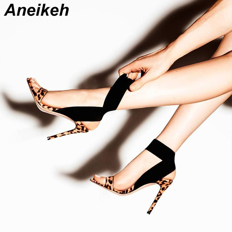 5f5ef853e6a Aneikeh 2019 Sexy Women Sandals Leopard Print Summer Shoes Thin High Heels  Open toe Ankle Strap Gladiator Pumps Dress Shoes