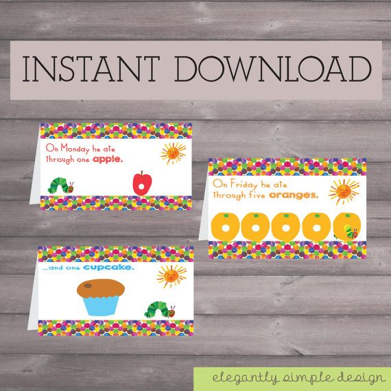 Caterpillar birthday downloadable printable food sign tents very hungry caterpillar eric carle birthday downloadable printable food sign tents filmwisefo