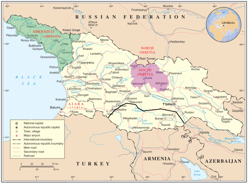 Map Of Georgia And Disputed Territories Including Abkhazia South - Georgia map with rivers