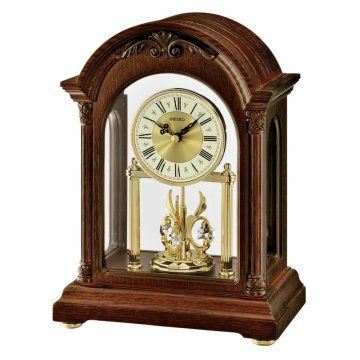 Seiko Qxn224 Wall Clock 8 25 In Wide Hayneedle Dark Brown Wooden Case With Glass Crystal Quartz Movement With Gold Clock Anniversary Clock Mantel Clock