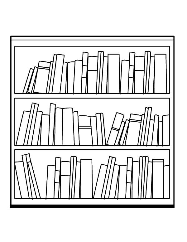 25+ Bookshelf Clipart Black And White