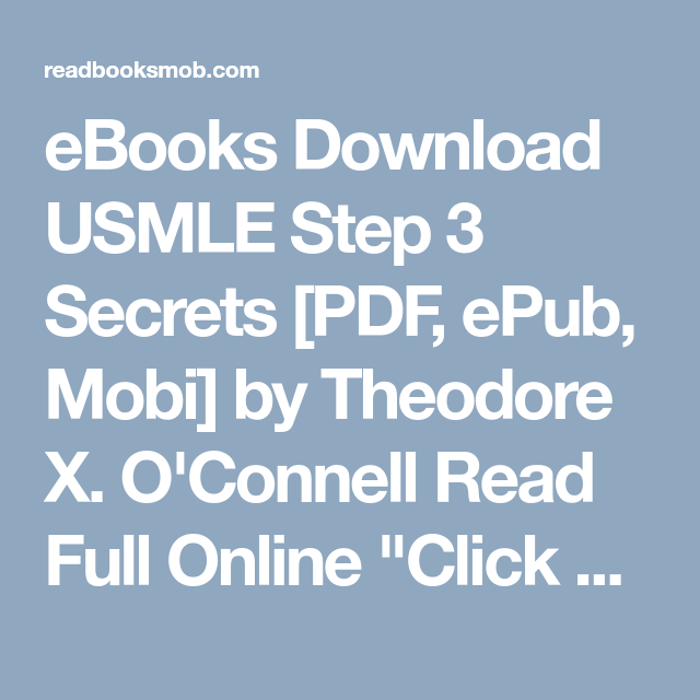 Ebooks Download Usmle Step 3 Secrets Pdf Epub Mobi By Theodore X