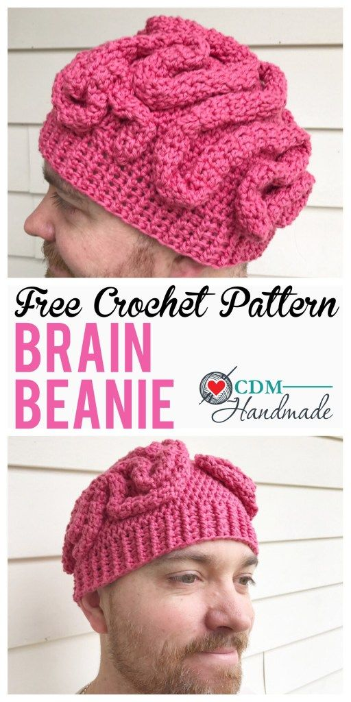 Crochet brain beanie | Crochet Head Coverings | Pinterest | Gorros