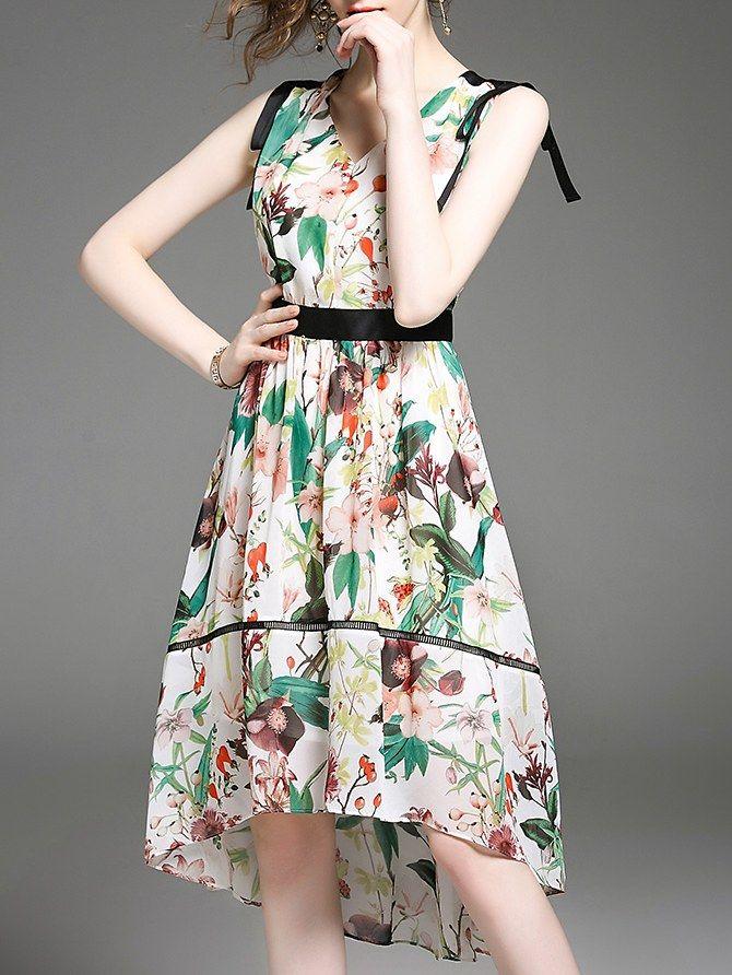 09f7473ba4656 Bowknot Ribbon Printing Fashion Dress Tank   Sleeveless DRESSES Wholesale  clothing