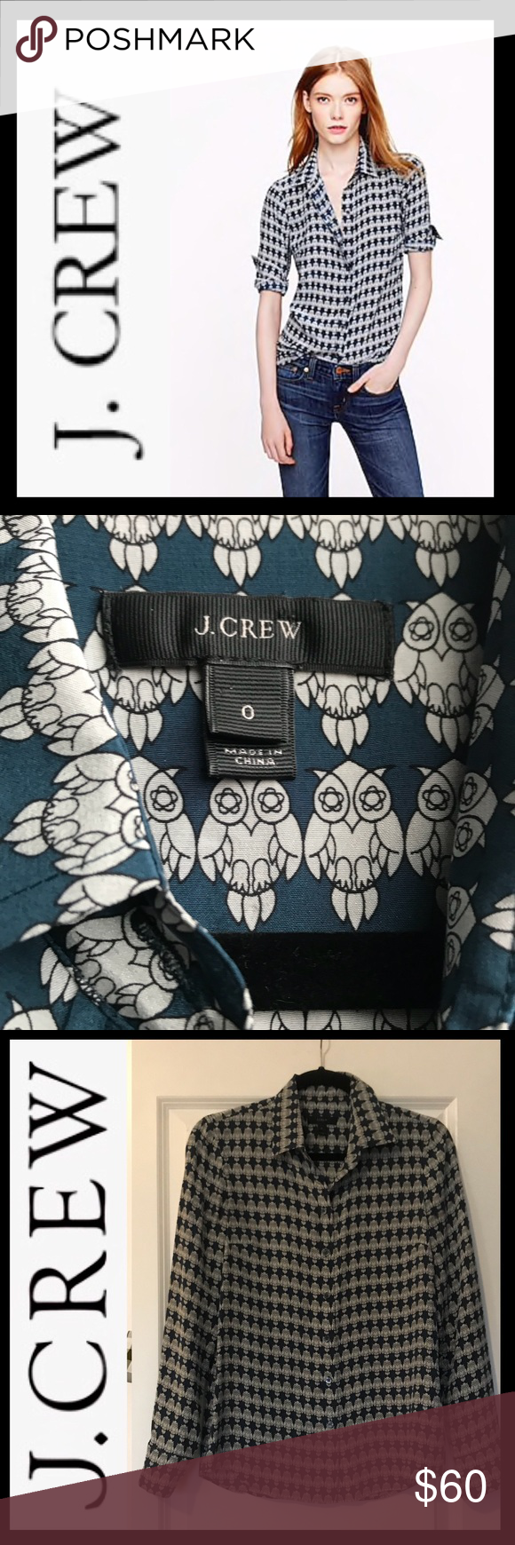 b6b6141f J.Crew Boy Silk Boy Blouse in Owl Print J.CREW Silk Boy Shirt in Owl Print  🦉 • Sz 0 • 100% Silk • Long roll up sleeves • Functional Buttons at Cuffs  ...