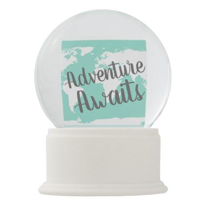 Adventure awaits world map mint snow globe gumiabroncs