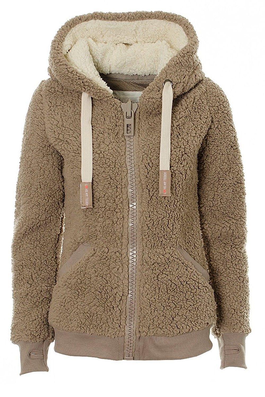 Womens Teddy Bear Fleece Coat Jacket Winter Warm Hoodies Sweater Jumper Outwear