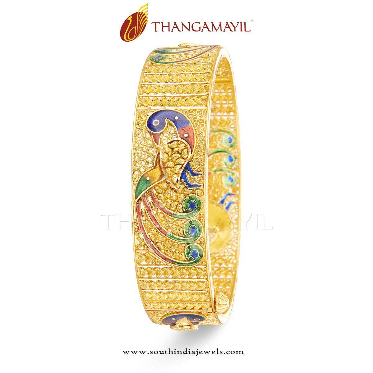 Gold Bridal Bangles with Enamel Work | Gold bangles design, Gold ...