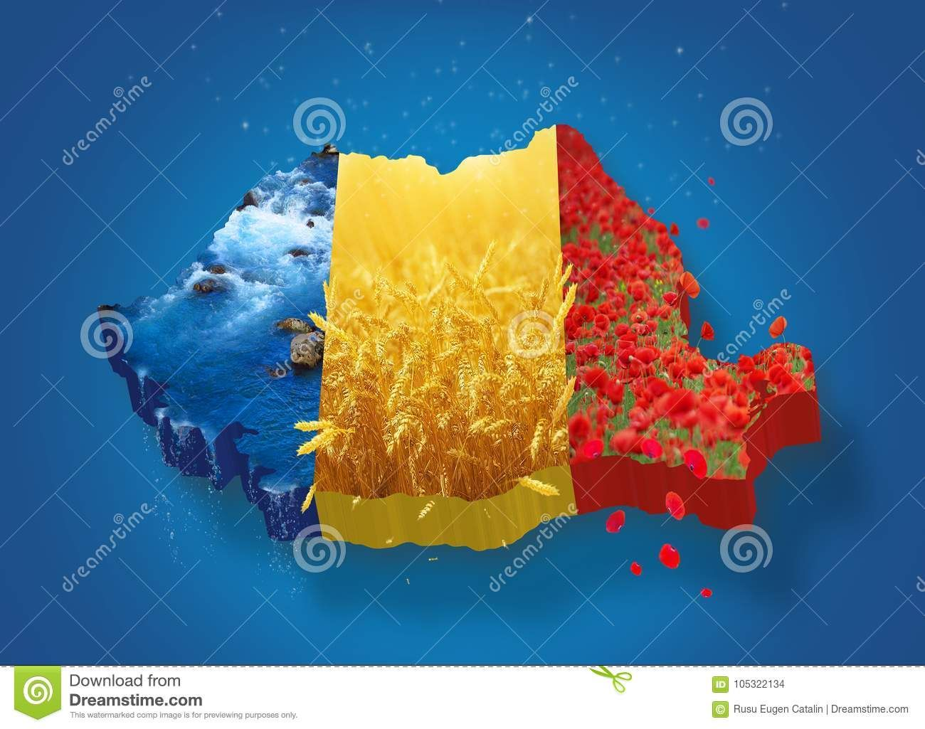 Romania Map 3d Photo About December Tricolorn Waternred