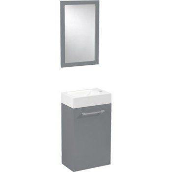 meuble lave-mains avec miroir gris galet n°3, sensea remix | leroy