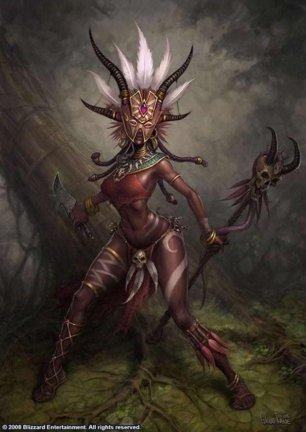 Witch Doctor Female Characters Art Diablo Iii Character Art Monster Concept Art Witch Doctor
