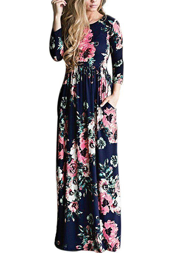 DSCAO Long Sleeve Casual Vintage Floral Boho Maxi Dresses for Women Floor  Length Retro Ladies Dresses
