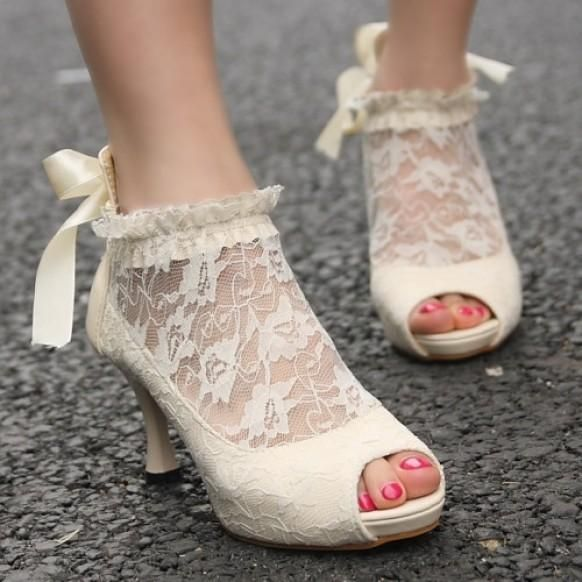 Weddbook Lace Ankle Peep Toe Elegant Wedding Bridal Shoes Ivory Vintage Pumps