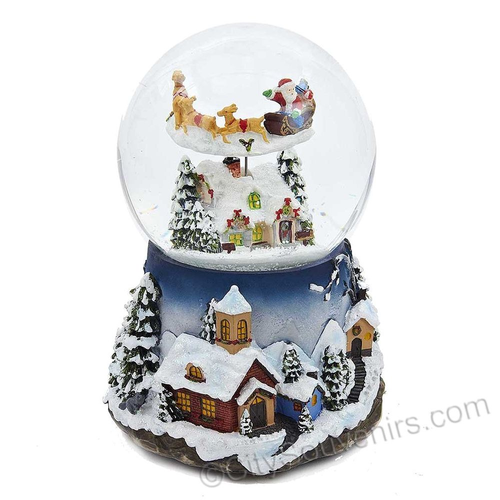 Plays Tune Santa Claus is Coming to Town Santa in Sleigh with Reindeer Flying Around Christmas Tree Musical Snow Globe Glitterdome 8 Tall 120MM