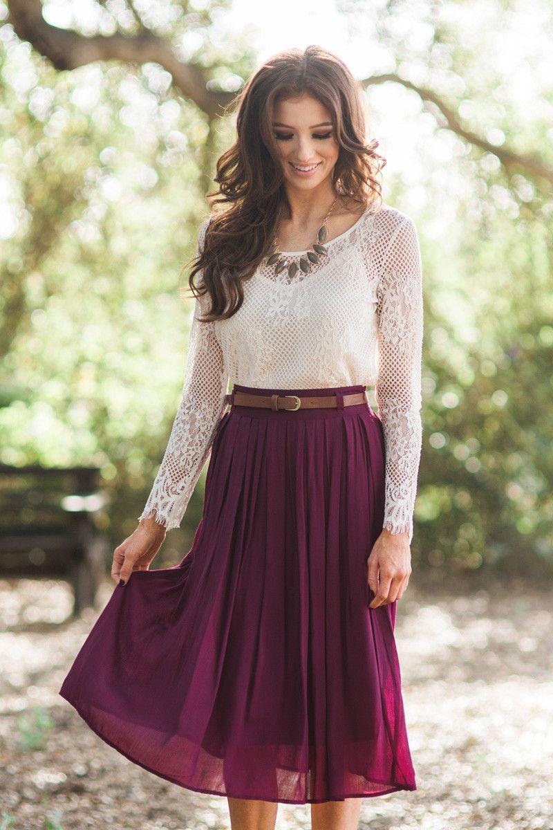 717050acd28673 Midi Skirt, burgundy midi skirt, pleated skirt, fall fashion, Christmas  outfit ideas, photoshoot outfit ideas, Morning Lavender