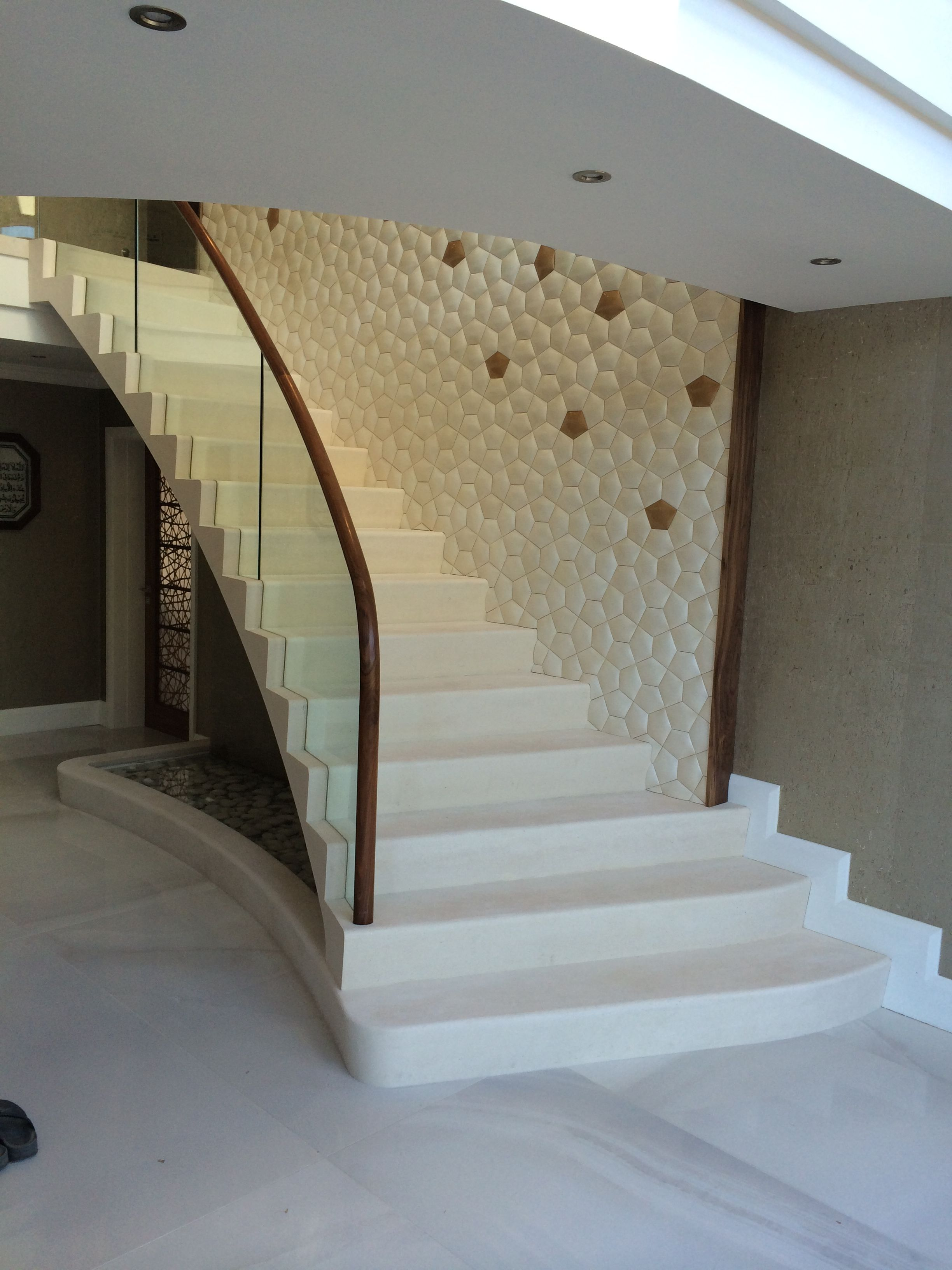 Modern, Contemporary Staircase With Water Feature, Curved Glass Balustrade And