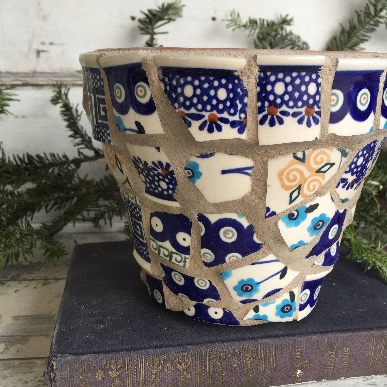 Broken china mosaic flower pot 6 inch boleslawiec polish