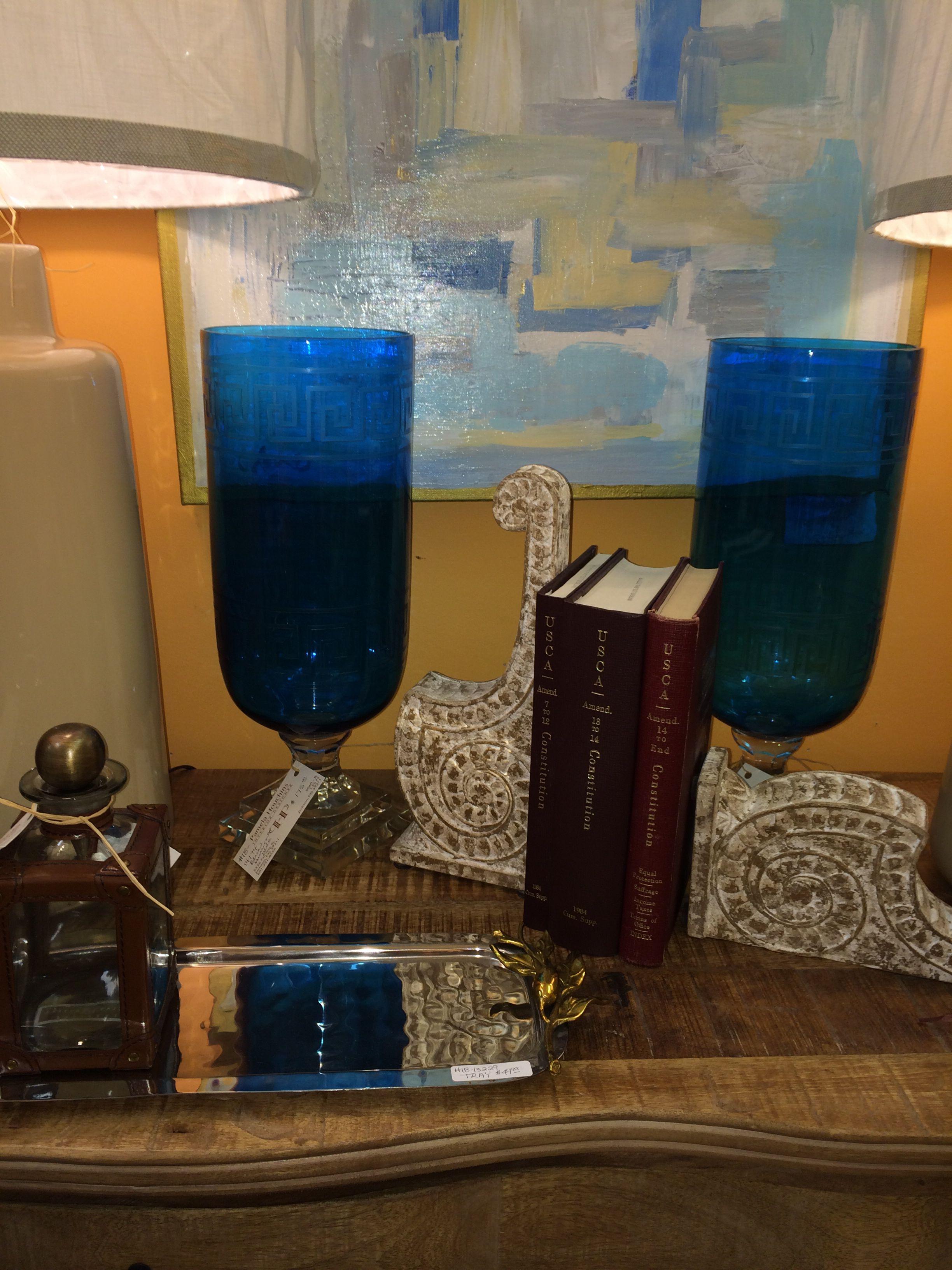 Blue Greek key hurricane globes Greek key, Interior