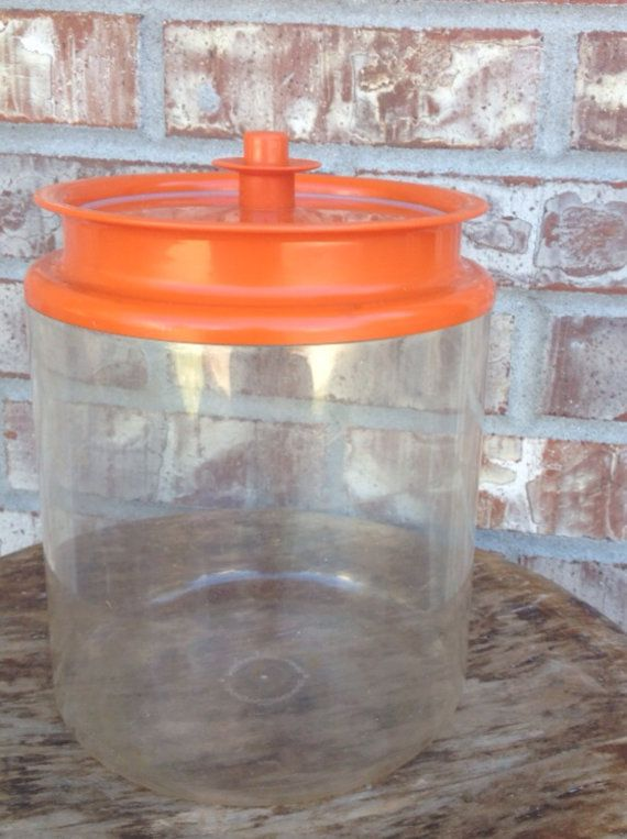Retro Bright Orange Tupperware Air Tight Hard Plastic Canister Press Button Lid 13 1 2 Cups 3 2 Litre Liter Usa L Plastic Canisters Tupperware Bottle