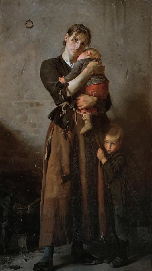 Artist : Frants Henningsen (Danish , 1850 - 1908) Title : Deserted. But Not by Friends in Need . Forladt. Dog ej af venner i nøden. Date : 1888 Medium : oil on canvas