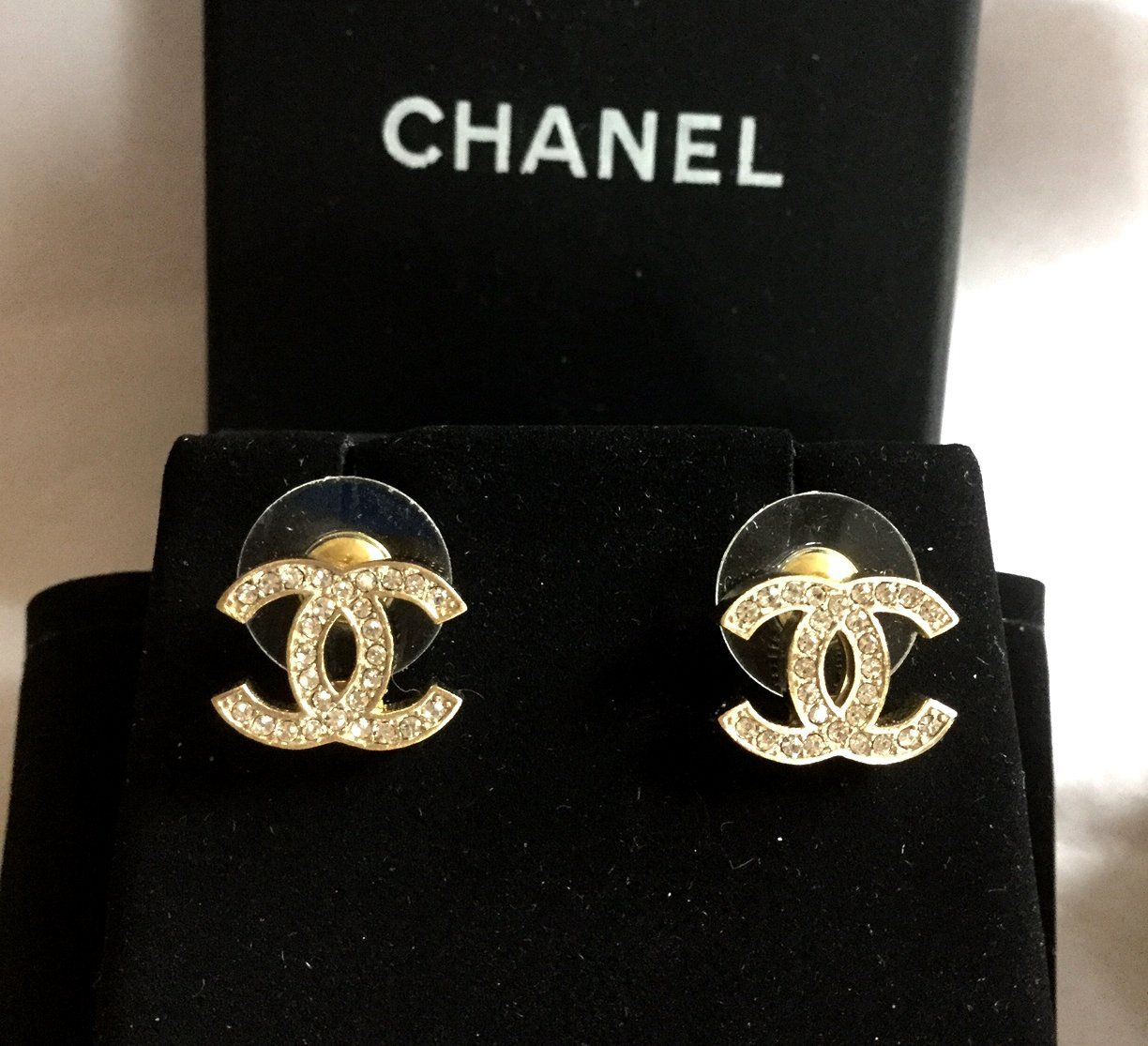 1f0e3f6be CHANEL+Classic+Mini+CC+Crystal+Stud+Gold+Earrings+Hallmark+Authentic+NIB