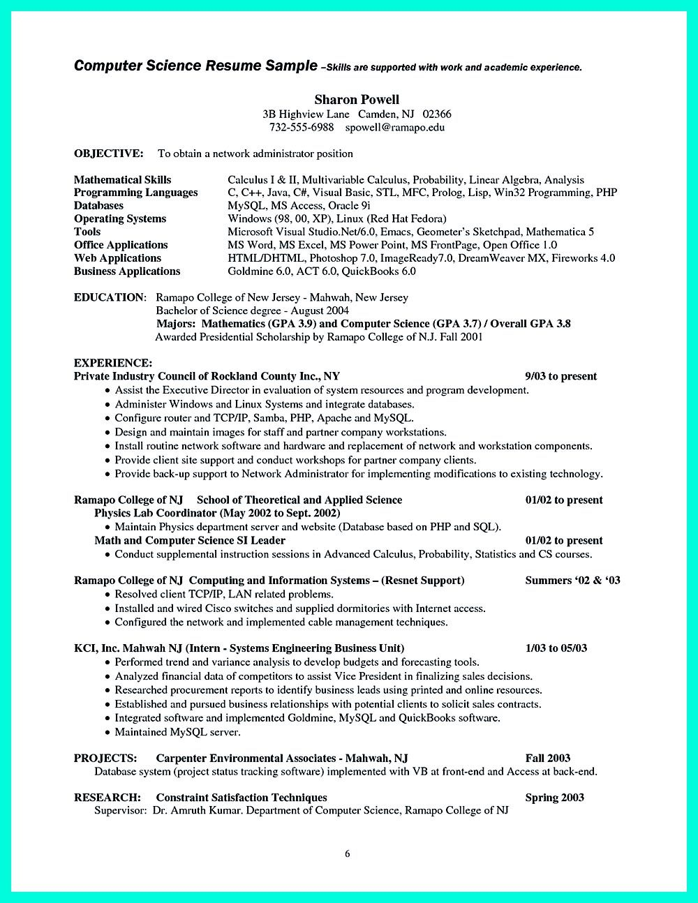 What you will include in the computer science resume depends on the ...
