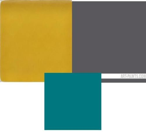 Colors: mustard yellow, charcoal gray, turquoise accents ...