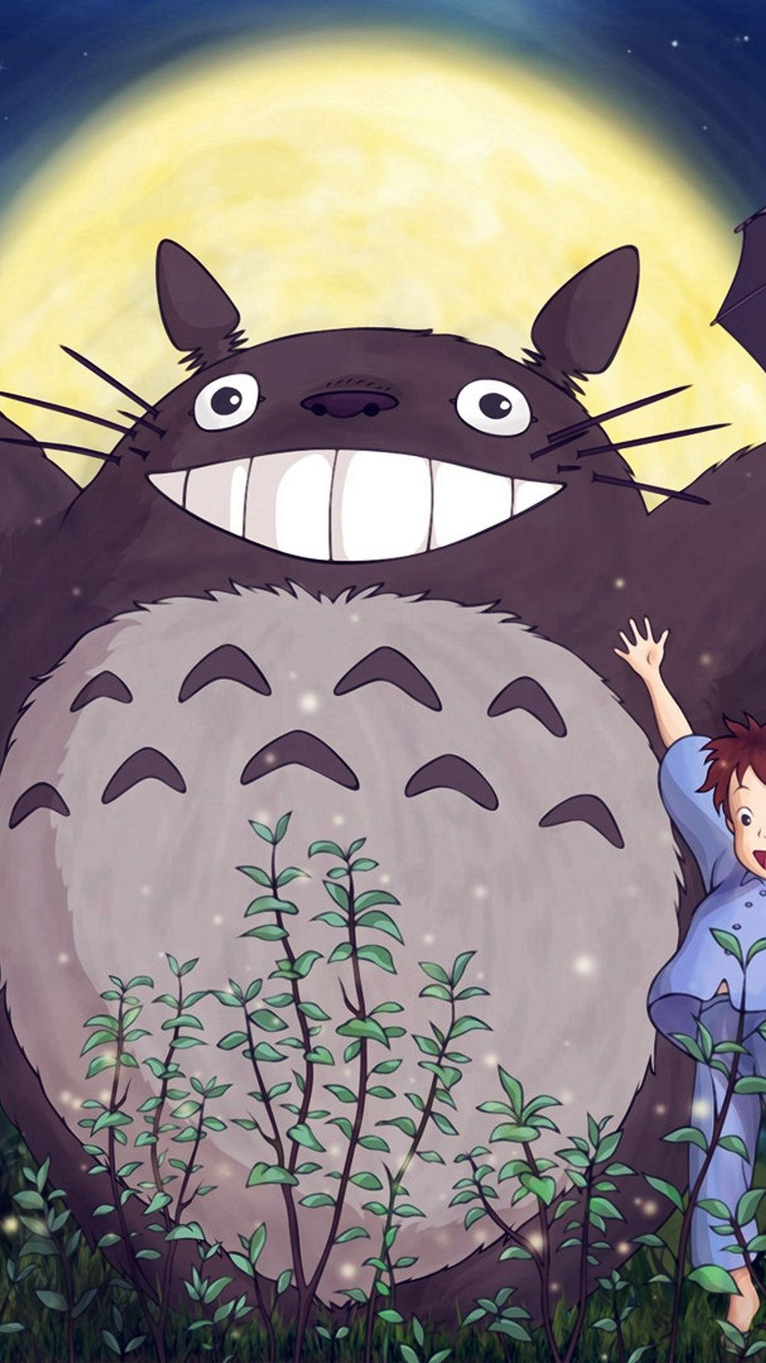 Totoro forest anime cute illustration art blue iphone 7 - Kawaii anime iphone wallpaper ...