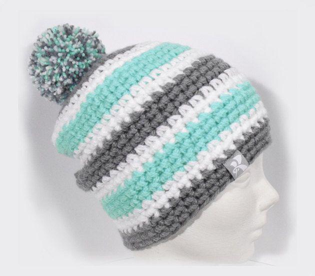 71201a01a83 Mid Slouchy Pompom Beanie Mint Blue Grey   White Stripey Crochet Bobble  Winter Hat Snowboard Ski Surf Skate  pompomhat  CrochetHat