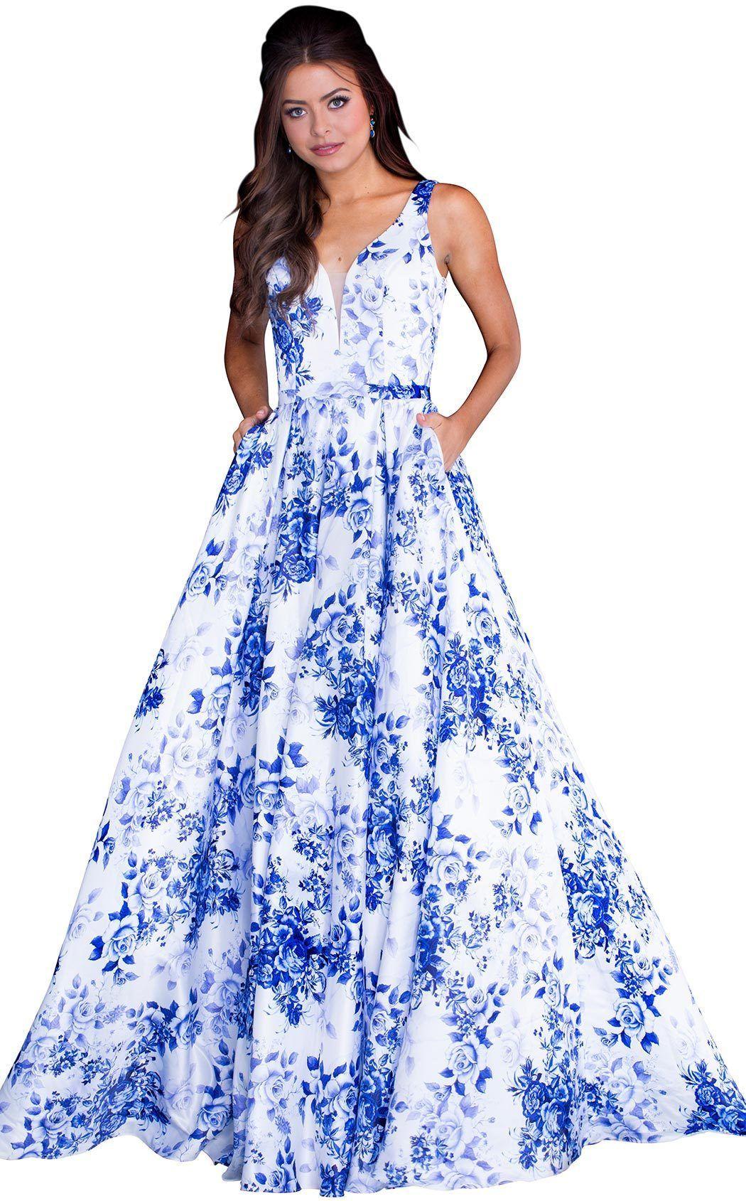 f110c404c9 Jovani - Printed Ball Gown V-Neckline Dress. JVN 60561. JVN 60561 Blue And  White ...