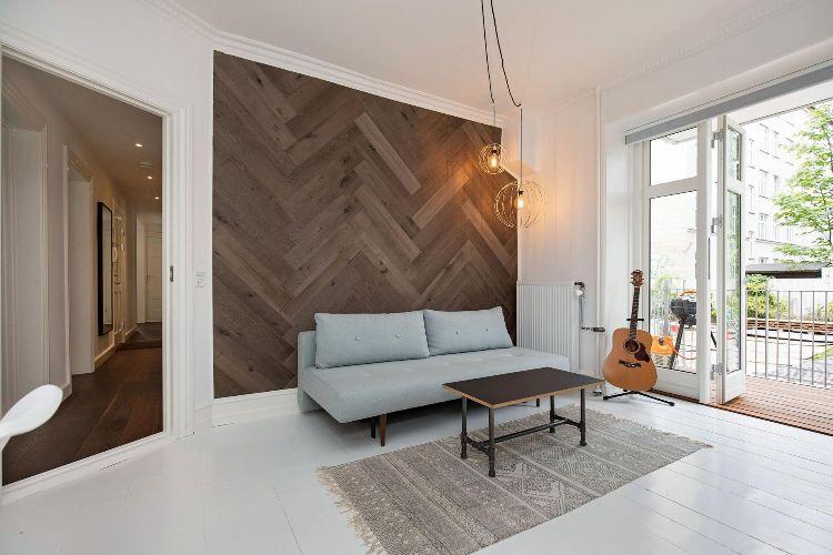 Exklusives Wohnen Durch Moderne Wandgestaltung Mit Fischgrätmuster.  Akzentwand Fischgrätenmuster Wohnzimmer Holz Veranda