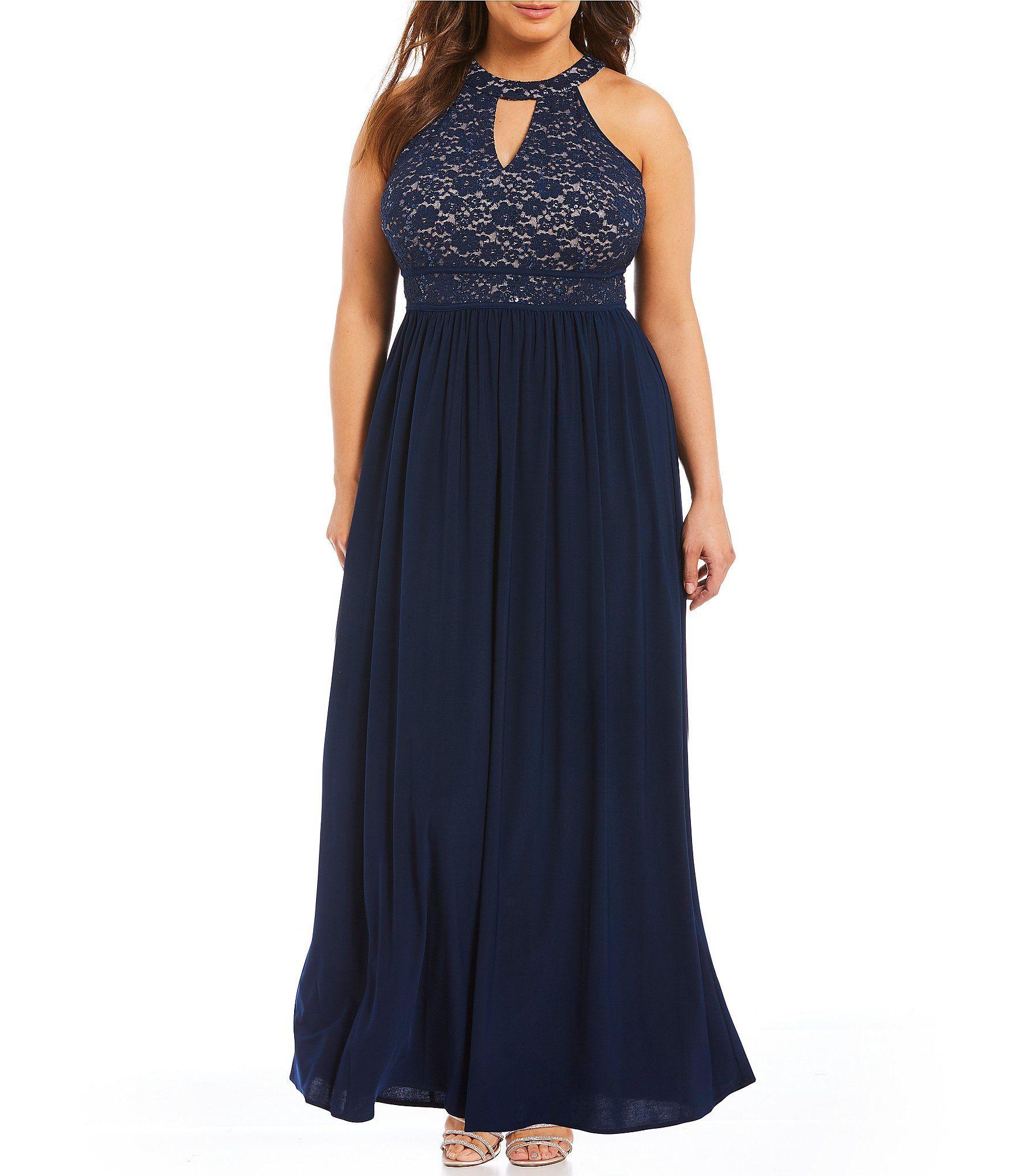 Morgan u co plus keyhole embellished lace bodice long dress lace