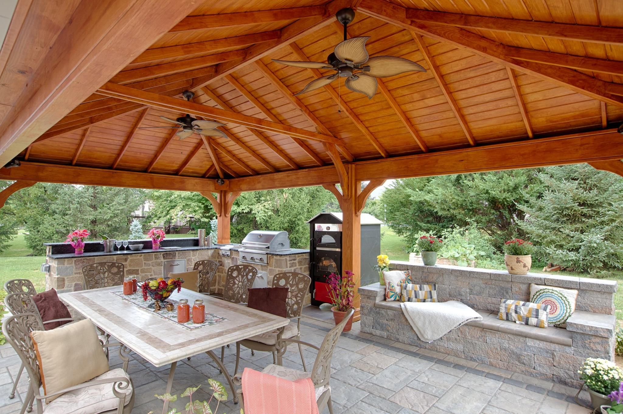 This Traditional Wood Pavilion Features A Beautifully Stained Pine Tongue And Groove Ceiling See More Backyard Pavilion Pavillion Backyard Outdoor Pavillion