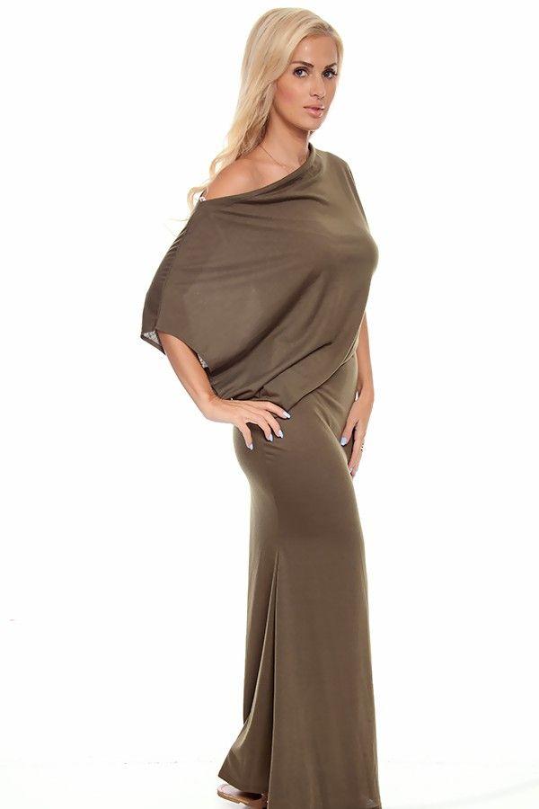 Off the shoulder long sleeve maxi dress