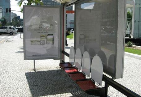 Laxatives ~ Used toilet seats instead of a bench for a company in Sao Paulo. Now, inside the bus (or subway)