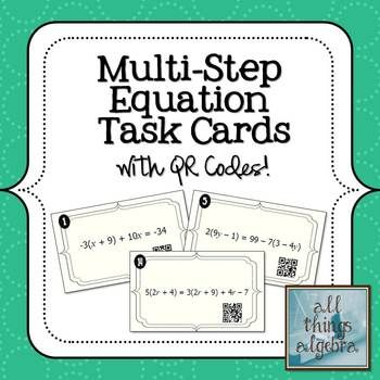 Multi-Step Equations Task Cards   Secondary Math   Maths