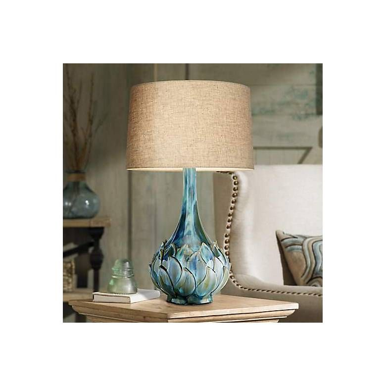 Possini Euro Kenya Blue Green Ceramic Table Lamp 7d486 Lamps