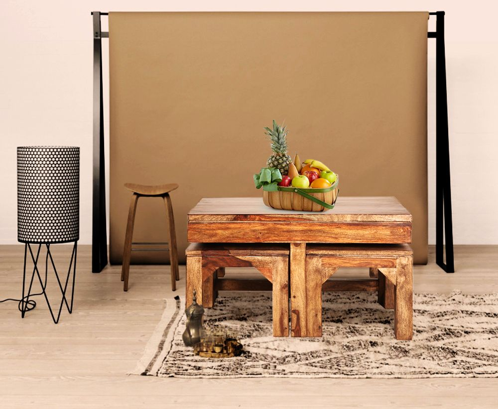 Cato Sheesham Wood Coffee Table With 4 Stools Trendsbee Coffee Table Wood Coffee Table Sheesham Wood [ 822 x 1000 Pixel ]