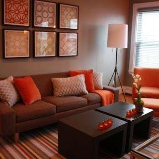 Sala Color Marron Naranja Salas Wohnzimmer Orange Wohnzimmer