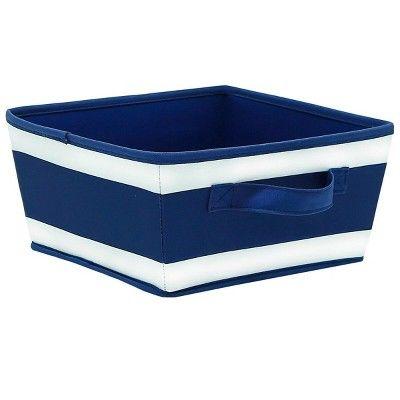 Small Striped Fabric Toy Storage Bin Navy - Pillowfort™