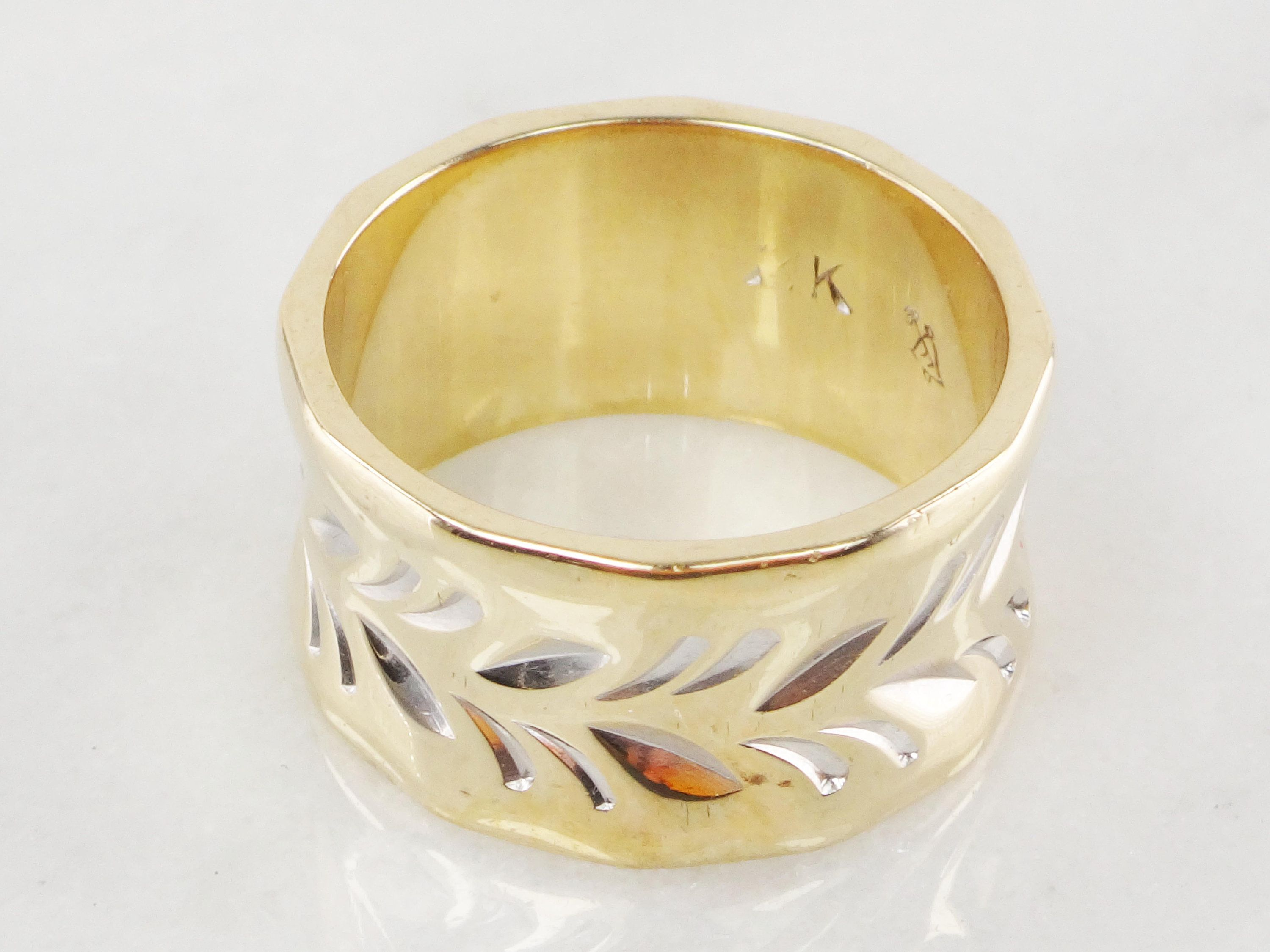 Vintage Wide 14k Gold Wedding Band 10mm Wide Two Tone Gold Wedding Band Vintage Wedding Band With 14k Gold Wedding Band Gold Wedding Band Vintage Wedding Band
