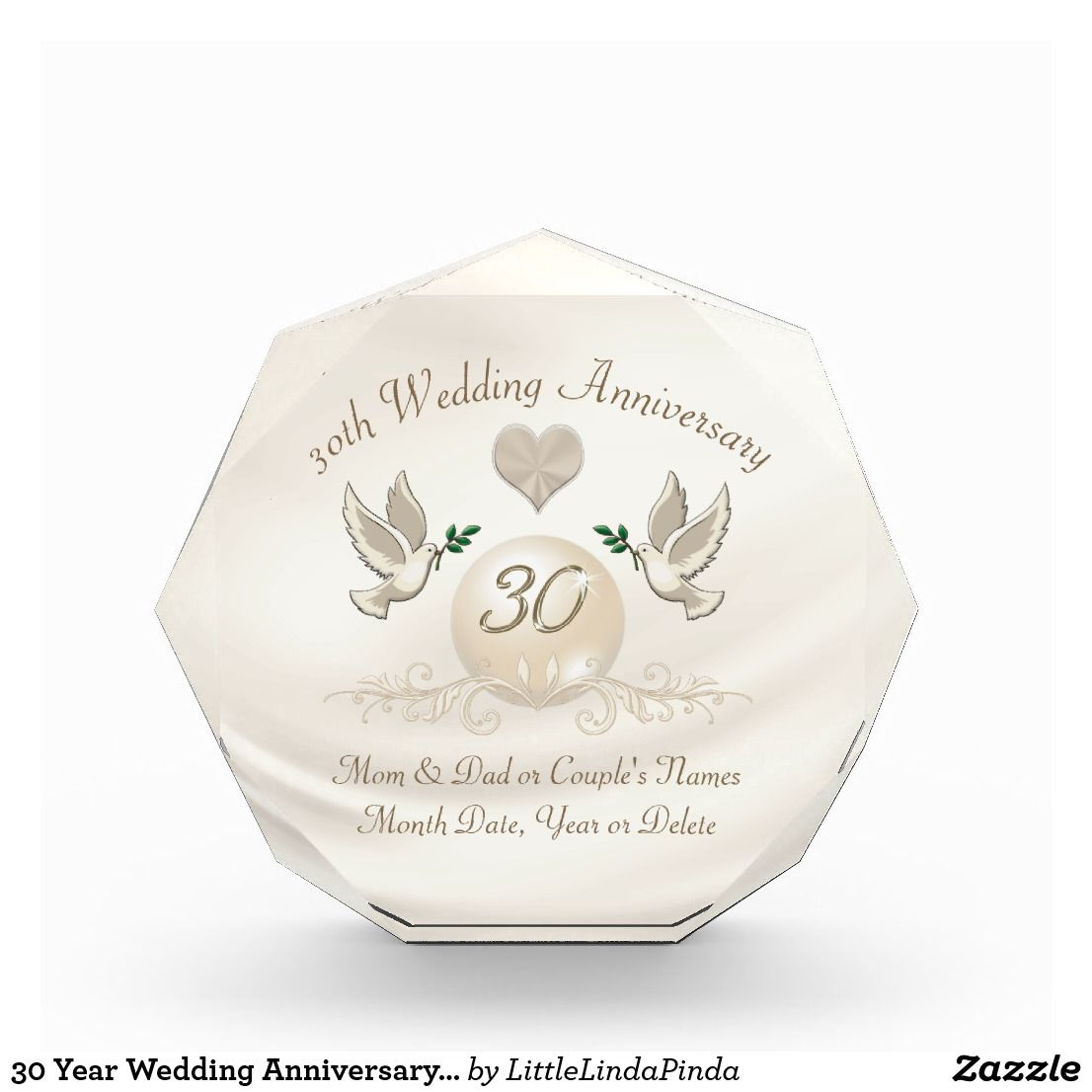 30 Year Wedding Anniversary Gift For Parents 30th Anniversary