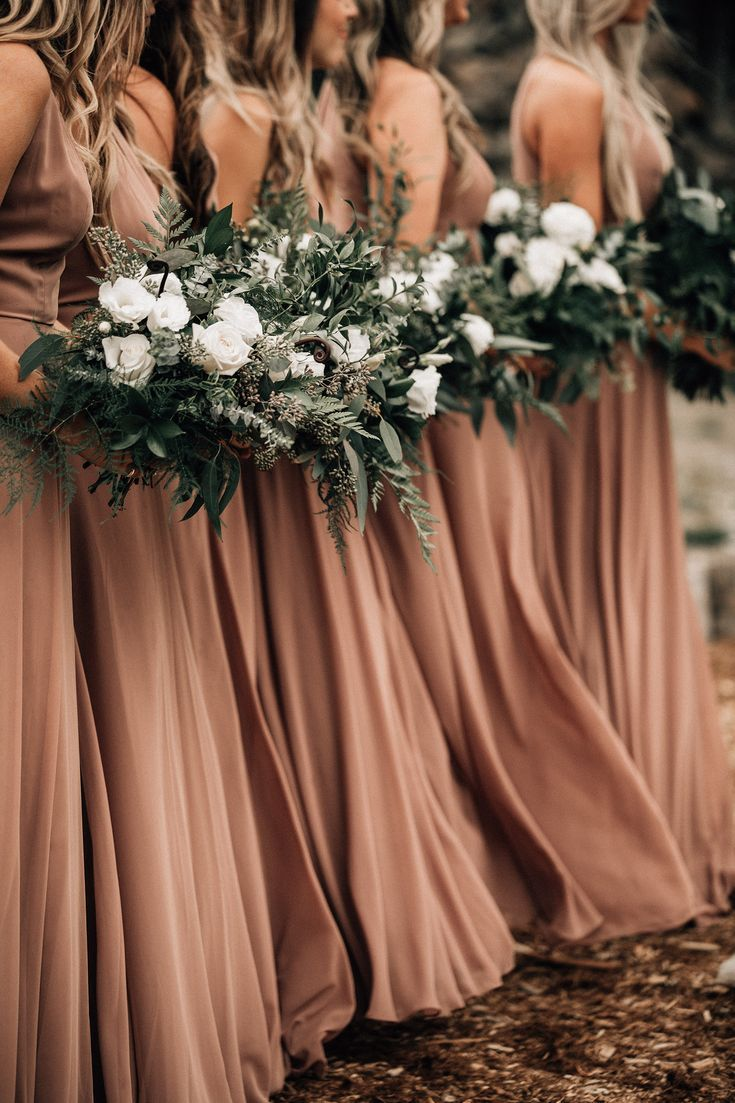 taupe bridesmaid dresses mountain wedding heavy greenery wedding bouquets white and green wedding colors - love this for a fall wedding #fallweddingideas
