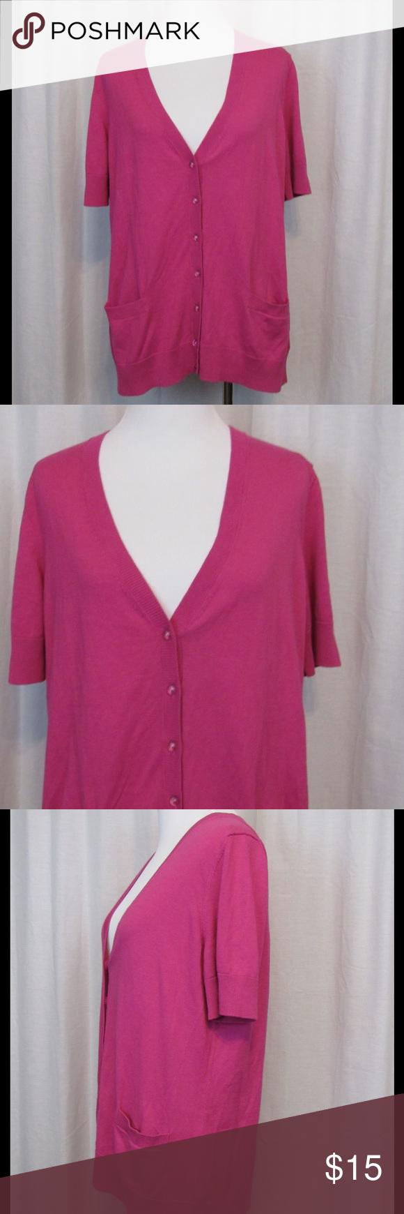 Talbots Pink Short Sleeve Thin Cardigan Top M Brand: Talbots Size ...